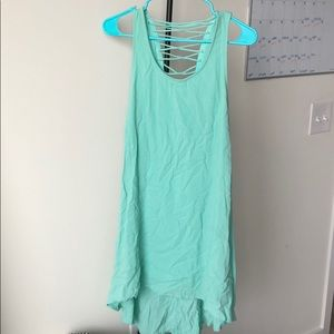 High low tank top dress, open tie back